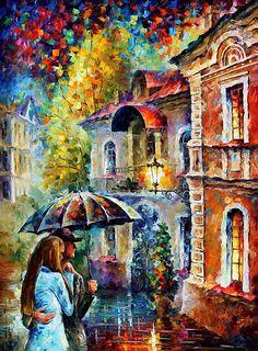 0703  Last Stroll - Palette Knife Oil Painting On Canvas By Leonid Afremov Print by Leonid Afremov