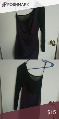 Purple and black mesh one sleeve dress Purple and black mesh one sleeve dress, cute club dress, tight on body Forever 21 Dresses One Shoulder