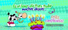 Imagen de cumpleaños para pedir deseos-Flora soplando velitas de cumpleaños© ZEA www.tarjetaszea.com
