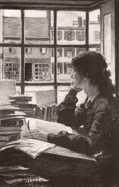 woman reading by the window - book art
