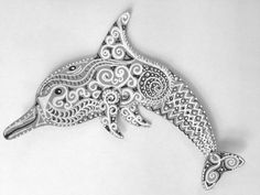 Crazy tiny zentangles in black and white on the Totem Poppet Dolphin! Tutorial: Process of an Art Journal Part 2 http://www.eyeconnectcrafts.com/tutorial-process-art-journal-part-2/?utm_campaign=coschedule&utm_source=pinterest&utm_medium=EyeConnect%20Crafts%20(Paper%20Craft%20Projects)&utm_content=Tutorial%3A%20Process%20of%20an%20Art%20Journal%20Part%202
