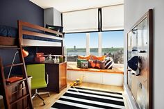 bunk bed, colors, window coverings, and metal peg board