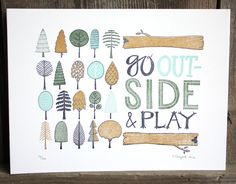Print with outdoor theme for child's bedroom  @ letterpress print by 1canoe2 on etsy