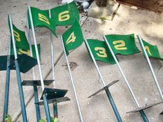 Vintage Set - 18 Numbered FLAGS with POLES -for Golf Course - Miniature Supplies