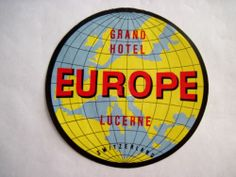 "Splendid Vintage Luggage Label ""Grand Hotel Europe Lucerne Switzerland"" 