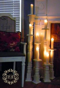 Candle holders from spindles