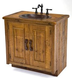 The Barnwood Vanity with Hand Hammered Copper Sink lends a traditional country vibe to your bathroom. Perfect aged barnwood is hand selected for every vanity. The hammered copper sink provides richness and warmth. With so many custom options available you will have a one of a kind sink.  Custom Sizes Available & Layouts Available