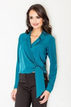 Long Sleeve Crossover Knot-Waist Blouse