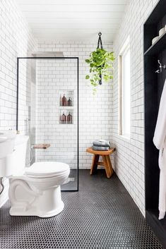 We can't get enough of this black and white industrial bathroom transformation b. - We can't get enough of this black and white industrial bathroom transformation by - Bathroom Renos, Basement Bathroom, Bathroom Renovations, Dyi Bathroom, Bathroom Inspo, Bathroom Cabinets, Bathroom Ideas White, Budget Bathroom, Bathrooms Decor