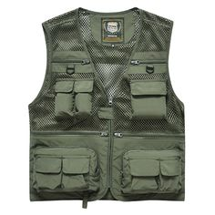 Sale 14% (39.99$) - AFSJEEP Mens Solid Color Summer Mesh Fishing Outdoor Quick-drying Vest Multi-pocket Waistcoat