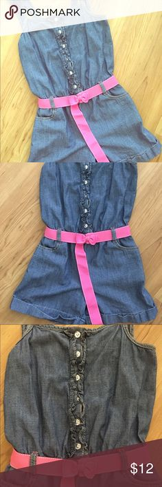 Gymboree Girls Chambray Denim Romper Size 12 Children's adorable romper with belt Gymboree Other