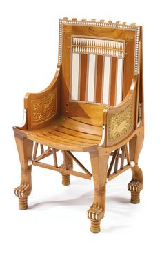 AN EGYPTOMANIA IVORY AND PARCEL GILT MOUNTED WOODEN CHILD'S ARMCHAIR  CAIRO, CIRCA 1925