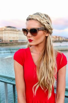 Braid and red lips.