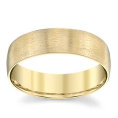 14K Yellow Gold 6.1mm Men's Comfort Fit Satin Wedding Band