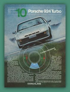 Porsche 924 Turbo car vintage print ad by catchingcanaries on Etsy