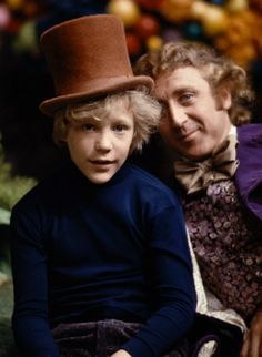 "Peter Ostrum and Gene Wilder on the set of ""Willy Wonka and the Chocolate Factory"""
