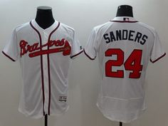 ced186b320c Braves  24 Deion Sanders White Flexbase Authentic Collection Stitched MLB  Jersey