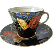 Black AYNSLEY Art Deco Tea Cup and Saucer