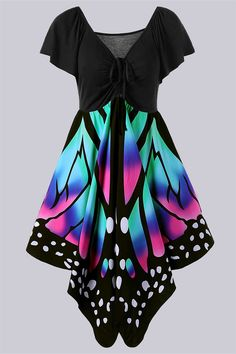 $21.28 Plus Size Empire Waist Butterfly Print Dress