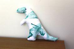 Green handmade Tyrannosaurus dinosaur soft toy by Yoliprints on Etsy