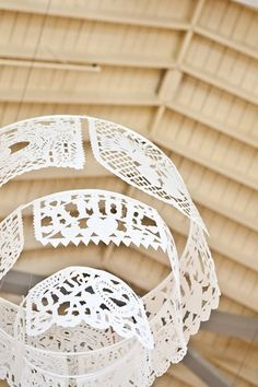Grosgrain: Graduated Paper Chandelier (use three wire rings and paper doilies or lace)