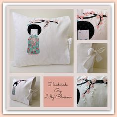 Handmade Applique Kokeshi Pure White Linen Tied Pillow Cover by LillyBlossom on Etsy SALE