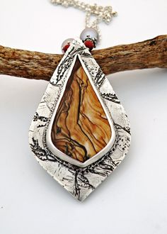 """Imagining the Landscapes"" Fine Silver Pendant made with Deschutes picture jasper, Freshwater Pearls by Vaasvara Jewelry"