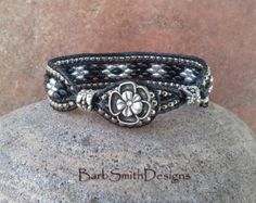 Black Silver Leather Wrap Rococo Bracelet by BarbSmithDesigns