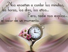 Nos enseñan a contar los minutos,las horas,los dias,los años...Pero nadie nos explica..el valor de un momento