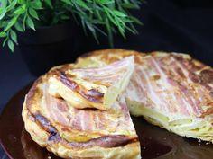 pomme de terre, lard, oeuf, crême fraîche, fromage de chèvre, gruyère râpé, pâte feuilletée, Sel, Poivre