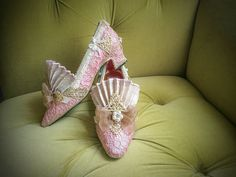 Pink Pearl Lace Heels Marie Antoinette Shoes Rococo Baroque