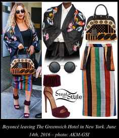Beyoncé was spotted leaving The Greenwich Hotel in New York wearing a Birds Kimono ($360.00 – similar style) and the Fatima Pencil Skirt ($270.00) both by Selly Raby Kane, a Burberry Velvet and Leather Bowling Bag (Sold Out), Perverse Madness Wraparound Sunglasses ($65.00) and Alaïa Fringe-Trim Suede Sandals (Sold Out).  Read more: http://stealherstyle.net/beyonce/#ixzz4cLhiyKUs