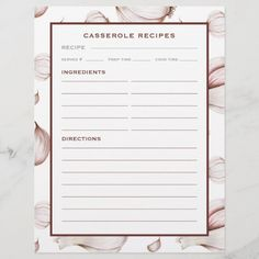 Garlic | Simple White | Casserole Recipe Page - tap/click to personalize and buy #recipe #page #binder #refill #pages Food Dishes, Main Dishes, Appetizer Recipes, Appetizers, Food Names, Good Foods To Eat, Name Design, Direction, Cookbook Recipes