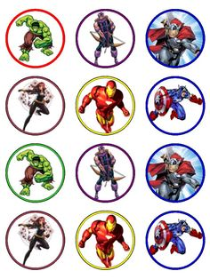 avengers cupcake toppers | tempting toppers carousel avengers cup cake toppers