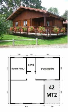 45 Ideas House Country Plans For 2019 Tiny House Cabin, Tiny House Design, Cabin Homes, Small House Plans, 2 Bedroom House Plans, Bamboo House, Cabins And Cottages, Log Cabins, Wooden House