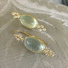 Patricia Marie Fine Jewelry 18k Royal Gold green moonstone and diamond earrings. Patriciamariefinejewelry.com