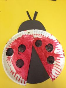 paper plate lady bug craft & Lady bug made from paper plate red paint black construction paper ...