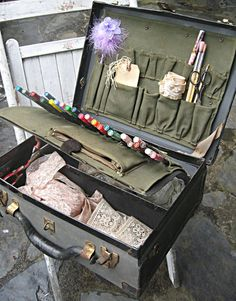 """Artist's supplies suitcase, portable art studio, utilizing a vintage """"Rockwell Bell System"""" case."""