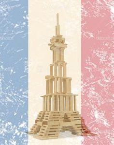 Torre Eiffel de Kapla. Construction For Kids, Construction Materials, Child, Animation, Crafts, Tour Eiffel, Towers, Kid, Building Materials