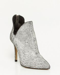 Italian-Made Cracked Leather Bootie - Cut-outs add a chic touch to a pair of cracked leather pointy toe shooties. Ballerina Flats, Pumps, Heels, Leather Booties, Knee High Boots, Shoe Boots, Peep Toe, Booty, Ankle
