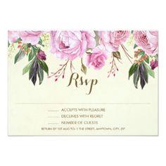 #bridal - #purple ivor floral rsvp card wedding bridal shower