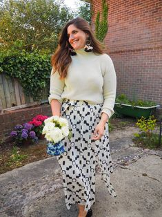 Mixing a fisherman's sweater with a print maxi skirt on a chilly summer day. Comfy curvy outfit happening right here. Maxi Skirt Outfits, Printed Maxi Skirts, Sweater Skirt, Curvy Outfits, What I Wore, Skirt Fashion, Foie Gras, Summer Outfits, Plus Size