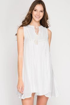The Kate Lace & Tassel Dress in White - Summer Trend #EBStyle