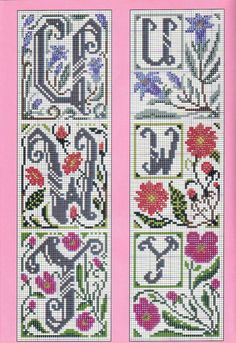 Alphabet cross stitch flowers large and small 6 of