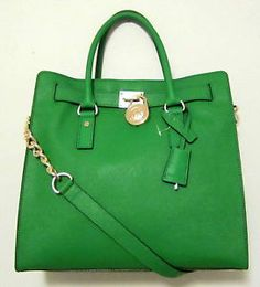 Michael Kors Hamilton green tote | ... MICHAEL KORS SAFFIANO LEATHER N/S HAMILTON LARGE TOTE PALM GREEN GOLD
