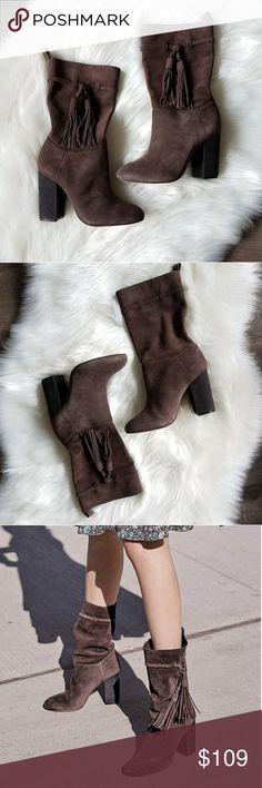 Vince Camuto suede boots New in box.  Get ready for cooler weather in these gorgeous Vince Camuto slouchy pull on suede boots with wrap around side tassels. These boots are perfect   with jeans, leggings, dresses, and skirts!  Smoke free and pet free home. Vince Camuto Shoes Heeled Boots