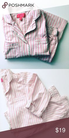 Victoria's Secret Pink & White Stripe PJs sz XS Victoria's Secret Pajamas. Pink and White Stripe with thin shimmery silver stripe. Two pieces. Button up top with option to roll up sleeves to 3/4 length. Matching full length pants. Both sz XS Victoria's Secret Intimates & Sleepwear Pajamas