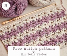 Free stitch pattern by Mon Petit Violon. •This pattern will be great for scarves, blankets, hats and clothing. You can use more than two colors as well.  Pin and share it with your friends if you like it!  Happy crocheting!