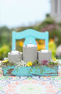 Make a single concrete candleholder in the height you like, or group them to form a centerpiece - perfect for use indoors or outside!