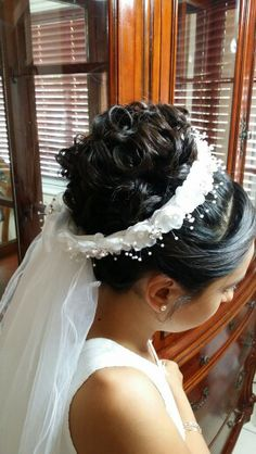 I just made this up do for my niece for her first communion. ( hairstyle hairstyles updo hairdo )